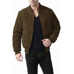Bgsd Men's Classic Suede Leather Bomber Jacket With Zip Out Liner (Regular & Tall Sizes), Size: XXLT, Brown