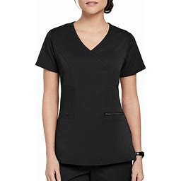 Grey's Anatomy Spandex Stretch Kim Surplice 3 Pocket Easy Care Scrub Top - Black - Grey's Anatomy Spandex Stretch Scrub Tops From Scrubs And Beyond