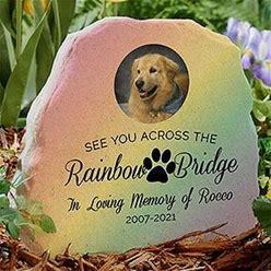 Rainbow Bridge Pet Memorial Personalized Photo Garden Stone