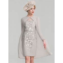 Jjshouse Sheath Column Scoop Neck Knee-Length Chiffon Lace Mother Of The Bride Dress With Beading Sequins
