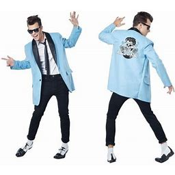 Mens 50's Teen Idol Halloween Costume, Men's, Size: Small, Blue