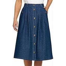 Denim Button-Front Skirt - Plus Size - 16 Women - Blue AmeriMark