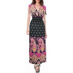 Peach Couture Womens Summer Exotic Floral Bohemian Tahiti Sleeveless Maxi Dress Polka Dot, Adult Unisex, Size: One Size, Gray