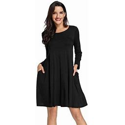 Vista Tunic Top Dress For Women Long Sleeve T-Shirt Pockets Swing Shift Casual Cocktail Party Dresses, Women's, Size: Small, Black