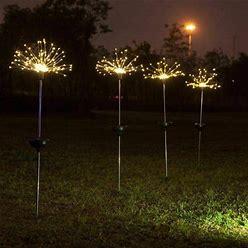 Garden Lawn Lights Solar 120 LED Grass Firework Globe Dandelion Lamp Outdoor Holiday, Men's, Size: 1PC, White