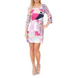 Women's 3/4 Sleeve Mozaic Print Dress