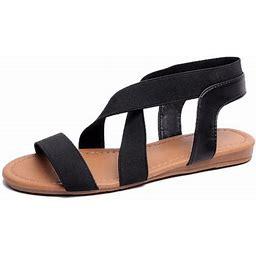 Lowestbest Sandals For Women, 002bk38ns Women's Flat Sandals Criss-Cross Open Toe Wide Elastic Strap Fashion Summer Shoes For Ladies, Black Soft