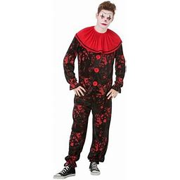 Boo! Inc. Crimson Clown Mens Halloween Costume | Black/Red Scary Jester Outfit