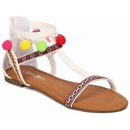 New Women Nature Breeze Francis01 Mixed Media T-Strap Tribal Pom Pom Flat Sandal, Women's, Size: 10, White