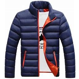 Xingqing Men's Winter Warm Jacket Stand Collar Packable Casual Down Overcoat, Size: XL, Blue