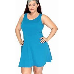 Simplicity Women's Plus Size Sleeveless Solid Fit Flare Mini Dress W/ Strappy Back,Tur,XL, Blue