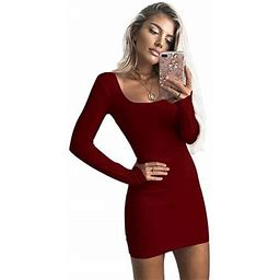 Fresh Look Women's Solid Color Dress Long Sleeve O-Neck Low Cut Bodycon Sexy Package Hip Dress, Size: Large, Red