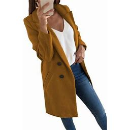 Sexy Dance Oversized Women Lapel Double Breasted Wool Blend Mid Long Pea Trench Coat Winter Warm Overcoat For Ladies Long Sleeve Jacket Outwear Plus
