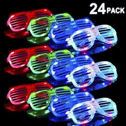 Decorx LED Glasses Glow In The Dark Party Supplies, 24 Pack Led Party Favors Bulk Light Up Glasses, Neon Party Supplies Party Favors (Random Color)