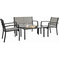 Homall 4 Pieces Patio Furniture Outdoor Patio Furniture Set Textilene Bistro Set Modern Conversation Set Bistro Set