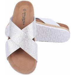 Seranoma Women's Comfort Slide Cork Sandals | Metallic Criss-Cross Straps, Size: 8, Silver