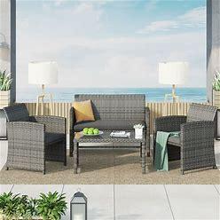 Corvus Alsace 4-Piece Outdoor Rattan Sofa Conversation Set With Cushions - Grey