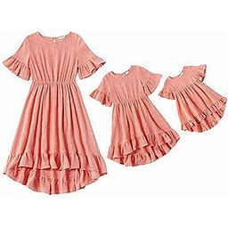 Meihuida Christmas Mommy And Me Dresses Casual Floral Family Outfits Stripe Stitching Skirt Beach Maxi Dresses, Women's, Size: 4-5 Years, Pink