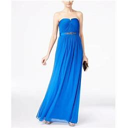 Adrianna Papell Womens Blue Embellished Sleeveless Strapless Full-Length Sheath Prom Dress Size 12, Women's