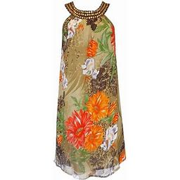 Peach Couture Womens Sleeveless Graphic Print Swing Dress (Olive, X-Large), Adult Unisex, Size: XL, Gray