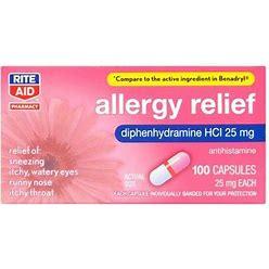 Rite Aid Allergy Relief Capsules, 25Mg - 100 Ct