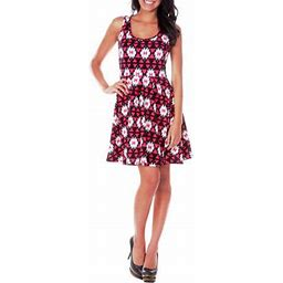 White Mark Women's Triangle Printed Fit And Flare Mini Dress
