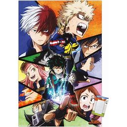 "Trends International My Hero Academia-Faces Mount Wall Poster, 14.725"" X 22.375"", Premium Poster & Mount Bundle"