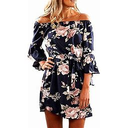 Vista Women Off Shoulder Short Sleeve Ruffles Floral Tunic Casual Party Shift Mini Dress, Women's, Size: 3XL, Blue