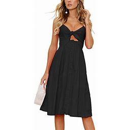 Vista Womens Dresses Summer Tie Front V-Neck Spaghetti Strap Button Down A-Line Backless Swing Midi Dress, Women's, Size: XL, Black