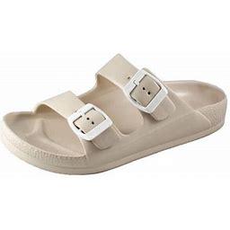 SNJ Women's Lightweight Comfort Soft Slides EVA Adjustable Double Buckle Flat Sandals, Size: 12