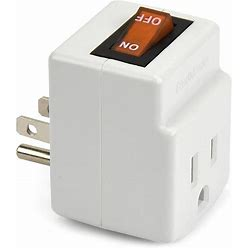 NEW! 3 Prong Grounded Single Port Power Adapter For Outlet With Orange Indicator On/Off Switch To Be Energy Saving (1 Pack)