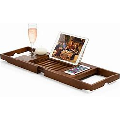 Bambusi Bathtub Caddy With Extendable Sides, Wine Glass And Book