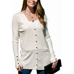 Doublju Women's Long Sleeve Pocket Front Button Knit Cardigan Sweater With Plus Size, Size: Small, Beige
