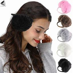 Sixyushades Faux Fur Ear Muffs Warmer For Women Men Winter Soft Plush Earmuffs (Coffee, Adult Unisex, Size: One Size, Brown