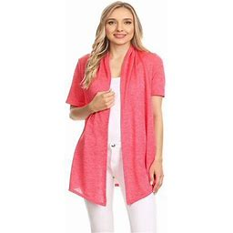 Moa Collection Women's Basic Casual Solid Short Sleeve Open Front Cardigan (s-3x) Made In USA, Size: 3XL, Red