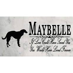 Custom Dog Name Memorial Stone By Breed Grave Marker Outdoor Garden Rock If Love Could Have Saved You Borzoi (Russian Wolfhound)