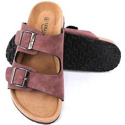Seranoma Women's Double Buckle Micro Suede Sandal   Classic Ladies Slide, Size: 8, Beige
