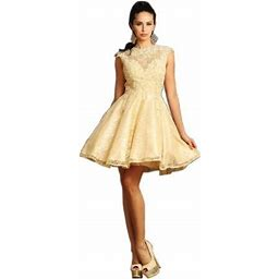 May Queen Sale! Classy Short Graduation Lace Dress, Women's, Size: 12, Beige