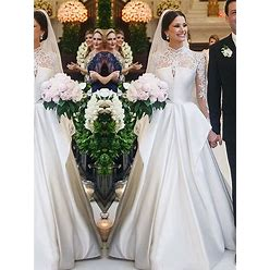 2021 A-Line Lace Satin High Neck Long Sleeves Long Wedding Dresses