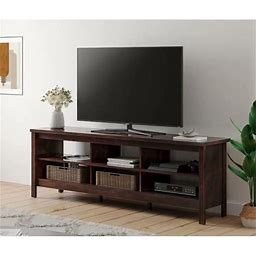 Wampat Farmhouse TV Stand For 75 ' Flat Screen , Wood TV Console Table Storage Cabinet , Living Room Storage Entertainment Center, Brown