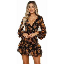 Vista Women's Fashion Deep V Neck Ruffle Sashes Print Long Sleeve Skater Dresses Summer Floral Mini Dress, Size: Medium, Black