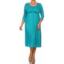 Moa Collection Plus Size Women's 3/4 Sleeves Babydoll Knit Dress, Size: 2XL, Green