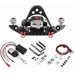 Andoer Metal Front Bumper Bar W/ 9.5Cti Winch And LED Headlights Wireless Remote Controller Receiver For 1/10 -4 Hsp Redcat Tamiya Axial Scx10ii D91