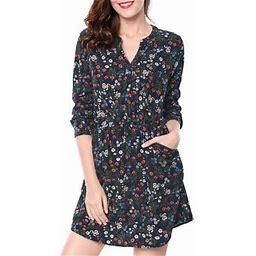 Allegra K Women's Floral Print Button Down V Neck 3/4 Sleeves Side Pockets Vintage Dress XS Dark Blue