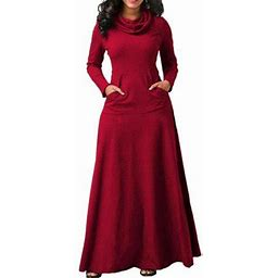 Vista Women's Evening Party Night Women Bow Long Sleeve Pockets Solid Long Dresses, Size: 4XL, Red