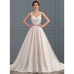 Jjshouse Ball-Gown Sweetheart Court Train Tulle Lace Wedding Dress With Beading