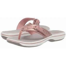 Clarks Breeze Sea Women's Casual Flip Flop Sandals 42609, Size: 5, Gold