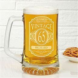 Personalized Birthday Beer Mugs - Vintage Classic