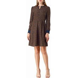 Allegra K Women's Fall Winter Fit And Flared Long Sleeve Keyhole Neck A-Line Floral Dress, Size: XS, Blue