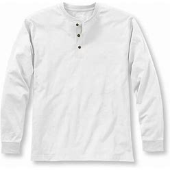 Men's Carefree Non-Shrink Tee, Traditional Fit, Long-Sleeve Henley White Medium | L.L.Bean